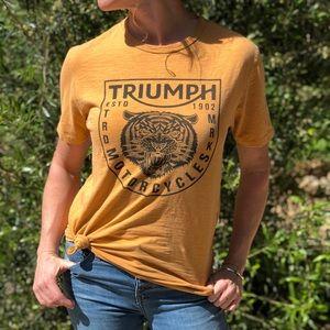 Triumph motorcycles mustard gold tee-shirt